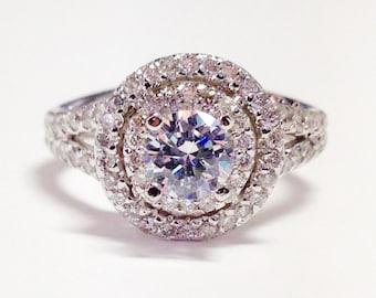 1.75CT Diamond Round Double Halo Split Shank Diamonds Engagement Ring Wedding Rings Anniversary Band Platinum 18K 14K White Yellow Rose Gold