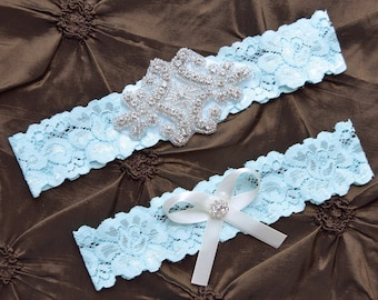 Something Blue Wedding Garter, Blue Garter Set, Blue Bridal Garter Set, Blue Lace Garter, Blue  Garter Belt, Blue Garter, Crystal Garter Set