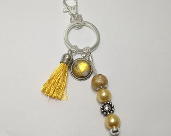 Key ring or bag jewel, colour yellow ref 751