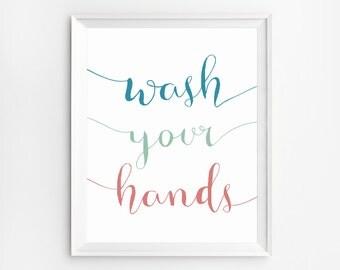 Bathroom printable, Wash your hands sign, Bathroom wall decor, Printable Quotes, Wash Your Hands Print, Bathroom Decor, Bathroom rules
