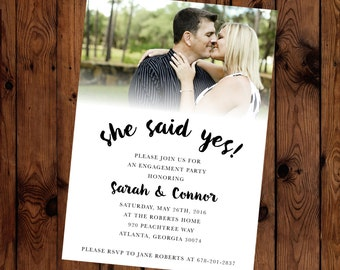 She Said Yes! Engagement Party Customizable Text, Color, and Photo Invitation Printable