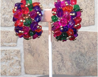 80s acrylic brightly colored semicircle cluster silver tone clip on earrings