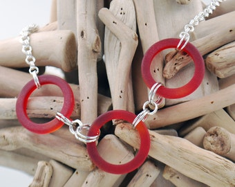 Red Recycled Glass Rings Necklace