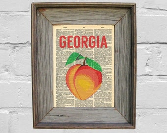 Dictionary Art Print. Georgia Peach Print. Art Print. Georgia Print.
