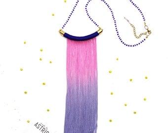 PINK SKY // Pink Blue Necklace, Fringe Necklace, Pink Blue Fringe Necklace, Blue Fringe Necklace, Pink Fringe Necklace, Rope Necklace