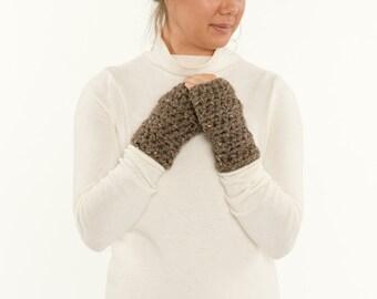 Chunky Crochet Wool Fingerless Gloves, Knit Texting Mittens, Hand Warmers, Women's Warm, Soft, Cozy, Handmade Winter Accessory
