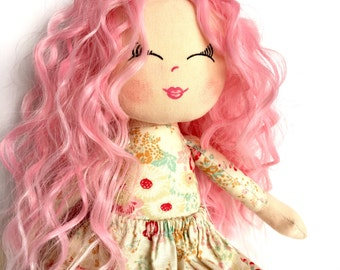 Pink hair cloth doll, rag doll, curly hair, fabric doll, pink dress, textile doll, doll for a little girl, gift for a girl, CE tested