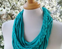 Turquoise Scarf Necklace Textile Fabric Statement Necklace Long Multistrands Necklace Loop Necklace Womans Multistrand Braided necklacN