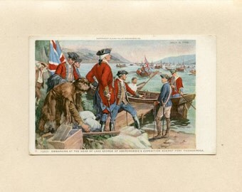 Military New York Postcard Abercrombies Expedition Fort Ticonderoga Lake George by Frederick C Yohn Glens Falls NY Insurance Co  - 5579Pc