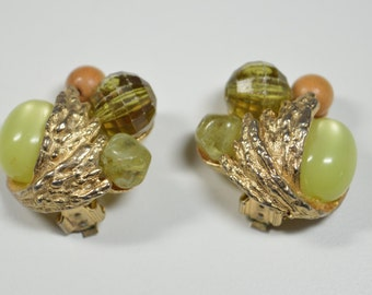 Vintage Glass Bead Clip Earrngs Yellow Cabochan Glass Bead Olive Green Tan Beads Ornate Goldtone Midcentury Design Statement Earrings