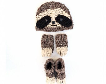 Baby Sloth Set, Baby Sloth Costume, Baby Halloween Costume, Newborn Photo Prop , Baby Shower Gift, New Mom Gift, Sloth Hat, Sloth Outfit