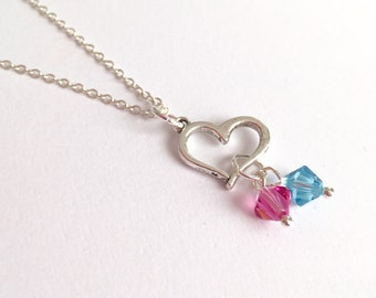 Silver Heart Necklace/Silver Heart and Birthstone Necklace/Silver Heart and Gemstone Necklace/Birthstone Necklace