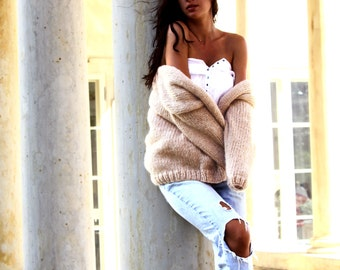 Cozy Cardigan, Oversized Cardigan, Chunky Knit Cardigan, Beige Cardigan, Oversized Sweater, Cozy Sweater, Fluffy Cardigan,