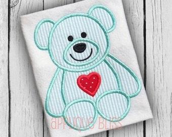 Teddy Bear with Digital Applique Design - Valentine's Day Embroidery Design - Valentine's Day Applique Design - Teddy Bear Applique Design