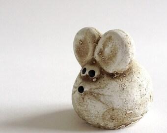 WHITE MOUSE. Boltze Design Bazar. Funny Fat 1970s Ceramic Mouse Figurine.
