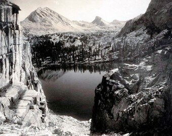 Ansel Adams 'Print of Old Vintage Photograph Reproduction Print of Marion Lake, Southern Sierra'Photo is B&W date 1927