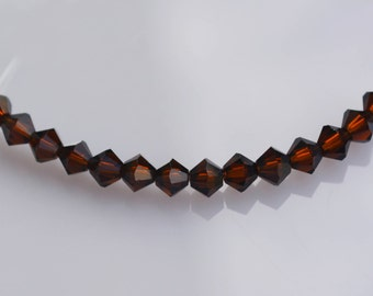 3mm Mocha Brown Swarovski crystal Bicone Beads, 40 pieces, 5301 Authentic, crystal elements, Wholesale bead supplies, under 4 dollars