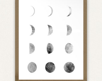 Moon Phases - Black and White - Printable Art (8x10)