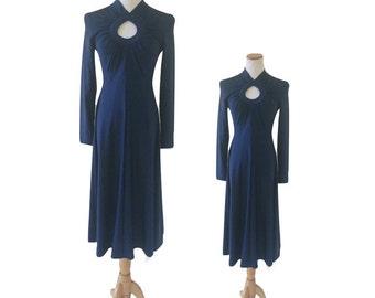 Navy Blue Keyhole Spandex Jersey Dress by Robert David Morton