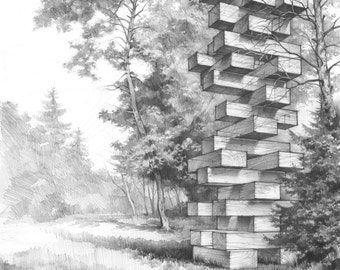 jenga tower original pencil drawing by katarzyna kmiecik architectural sketch perspective drawing wooden - Architecture Drawing Of Trees