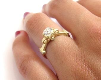 1 Ct diamond ring, Round diamond engagement ring , diamond engagement ring, 14k yellow gold engagement ring, antique style anniversary ring