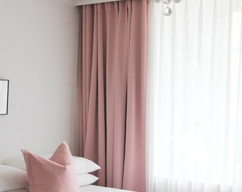 Pink Blackout One Curtain Net Lace Overlay Sheer White Panel