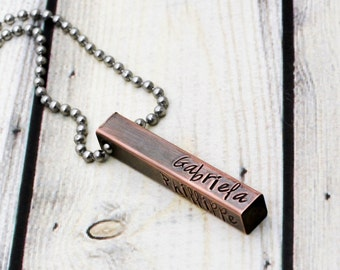 Custom Men's Necklace - Personalized Bar Necklace - Anniversary Gift for Husband - 4 Sided Mens Bar Necklace - Personalized Necklace for Men