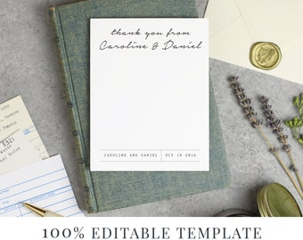 Printable Stationery Template, Printable Thank You, Word or Pages, MAC or PC, Library Book Suite, Instant DOWNLOAD