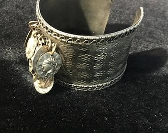 SALE!!! Jingle Jangle wide cuff silver bracelet with coin dangles!
