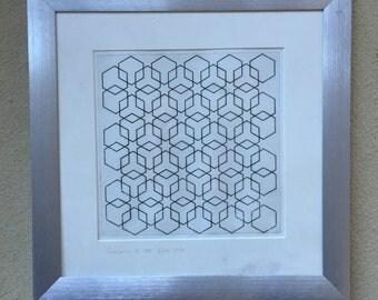 sacred geometry, islamic art,  etching print