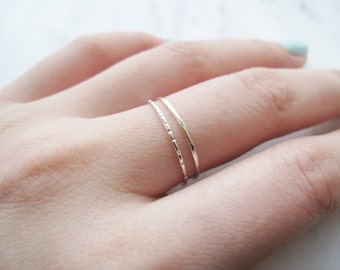 Thin silver rings, thin sterling silver rings//silver stacking ring, silver stack, hammered ring, lined ring, dainty, delicate, set of 2