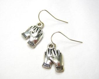 GLOVE EARRINGS, 925 Silver Dangling Earrings, Winter Mittens Earrings, Pair of Gloves Earrings, Gift Under 10, 3 Petunia Place