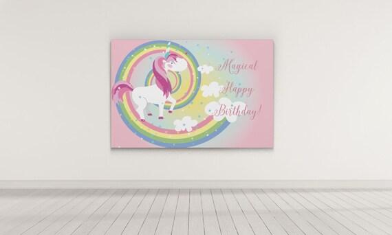 Unicorn Birthday Party Backdrop Bday Backdrop Candy Buffet