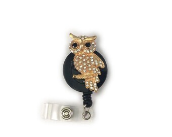 Crystal Owl (Gold) Retractable ID Badge Holder -Owl Badge Holder-Owl Badge Reel-Cute Badge Reel-Badge Holder-Badge Reel-Teacher Badge Reel