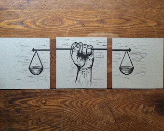 Scales of Justice - Fist -  Original Linocut Print - Hand Printed
