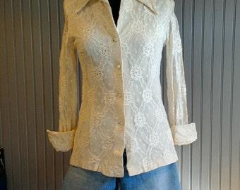 1970's Lace Shirt, Off-White Lace Blouse