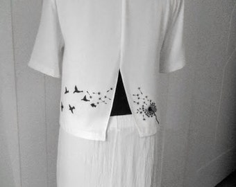 "White crepe gown hand-painted ""lightness of being"""
