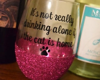 Cat Wine Glass, Glitter Dipped Wine Glass, Glitter Wine Glass, Funny Wine Glass, Stemless Wine Glass, Cat Gift, Cat Gifts, Funny Gift