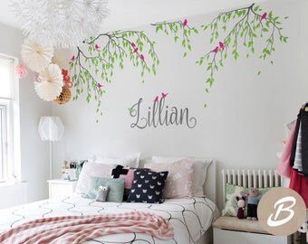 Tree wall decal Nursery tree decal Vinyl nursery decal Branches and birds decal Wall decor for nursery Vinyl wall decal Wall art - AM111