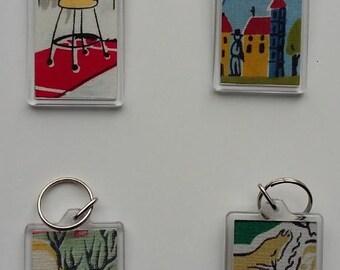 Key rings in vintage fabric