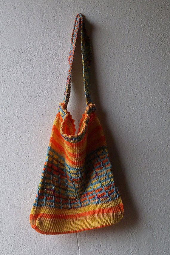 Knitted Shopping Bag Pattern : Market Bag Knitting Pattern shopping bag ecosensitive bag