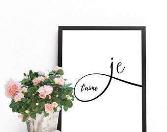 Love art, Printable quotes, Love quotes, Love PRINTABLE, French prints, Love art print, I love you wall art, French wall decor, Je t'aime