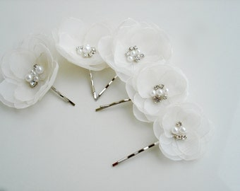 Ivory Bridal Flower Hair  Clips Pearl Crystal Wedding Hair Piece Flower Hair Pins Bobby Pin Bridal Hair Flower Wedding Hair Flowers White