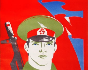 Original Soviet Propaganda Poster with a Red Army Soldier Authentic Communist