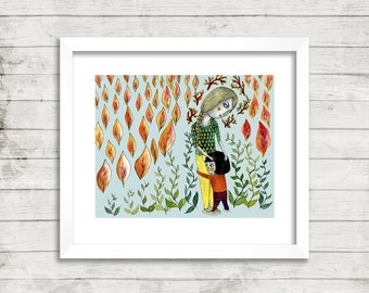Mother Embracing Daughter Illustration, art print