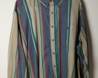 Multicolored Striped Button Up