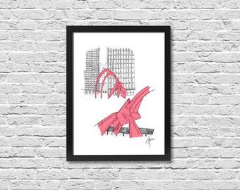 Framed Sketch Collage of Chicago's Red Flamingo Sculture - Framed Print