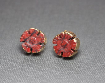 Red Jasper Flower Earrings Gold Dipped Leaf Red Gemstone Post Stud Earrings