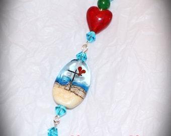 Beach Beaded Key Fob Purse Charms OOAK  Religious Cross Ocean Scene Heart Beads Lampwork Cross Bead Suncatcher Fan Charm