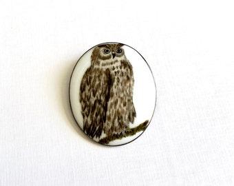 Beautiful Large Antique Owl Bird Hand-Painted Porcelain Bird Brooch Pin - C Clasp